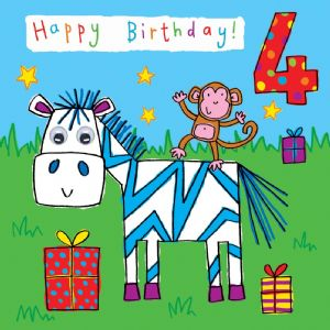 Childrens Birthday Card age 4 Zebra